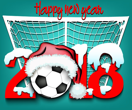 Snowy new year numbers 2018 and soccer ball in a christmas hat with football boots on the background of the gate vector illustration Illustration
