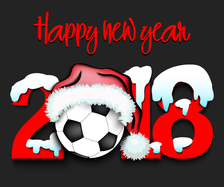Snowy new year numbers 2018 and soccer ball in a christmas hat with football boots vector illustration