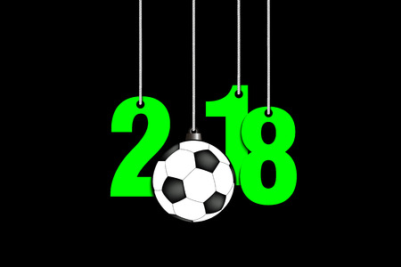 New year numbers 2018 and soccer ball as a christmas decorations hanging on strings vector illustration Illustration