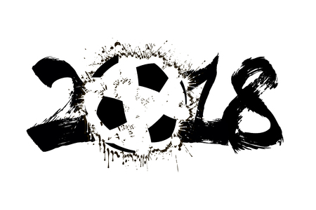 Abstract number 2018 and soccer ball blot vector illustration