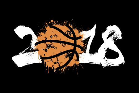 Abstract number 2018 and basketball blot Vector illustration