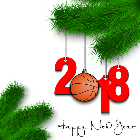 Happy New Year and numbers 2018 and basketball ball as a Christmas decorations hanging on a Christmas tree branch Vector illustration