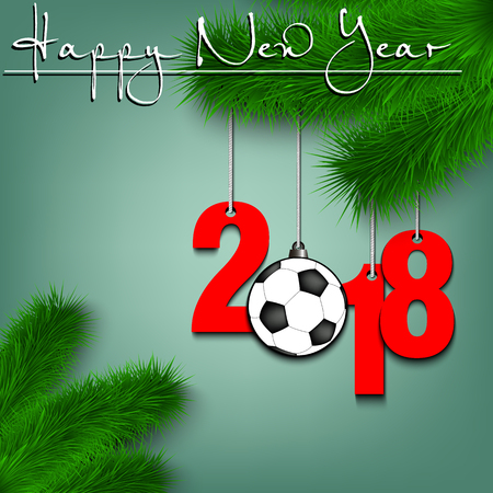 Happy New Year and numbers 2018 and soccer ball as a Christmas decorations hanging on a Christmas tree branch Vector illustration Illustration