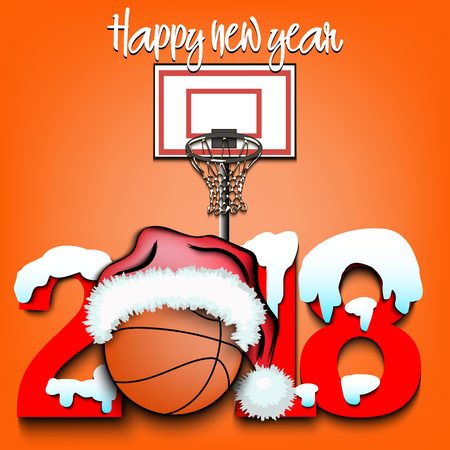 Snowy New Year numbers 2018 and basketball in a Christmas hat with basketball boots Vector illustration Иллюстрация