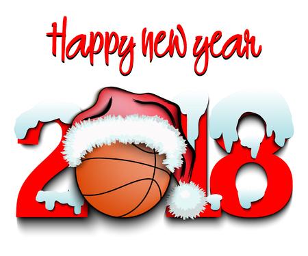 Nevado año nuevo números 2018 y baloncesto en un sombrero de Navidad con botas de baloncesto ilustración vectorial