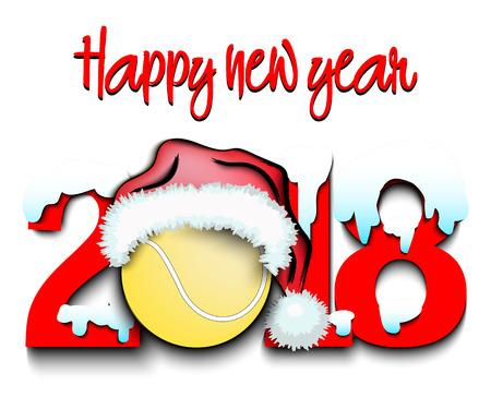 Śnieżny Nowy Rok to rok 2018 i piłka tenisowa w świątecznej czapce. Ilustracji wektorowych