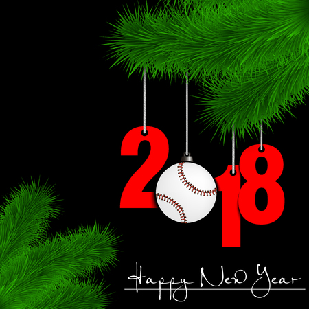 Happy New Year and numbers 2017 and baseball ball as a Christmas decorations hanging on a Christmas tree branch on a black background. Vector illustration