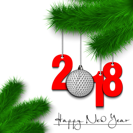 Happy New Year and numbers 2018 and golf ball as a Christmas decorations hanging on a Christmas tree branch on a white background. Illusztráció