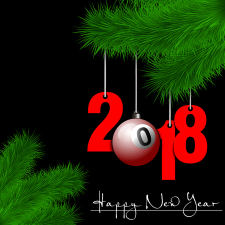 New Year 2018 design with billiard ball hanging on a Christmas tree branch. Illustration