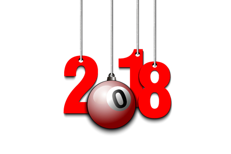 New Year 2018 design with billiard ball as a Christmas decorations hanging on strings. Illustration
