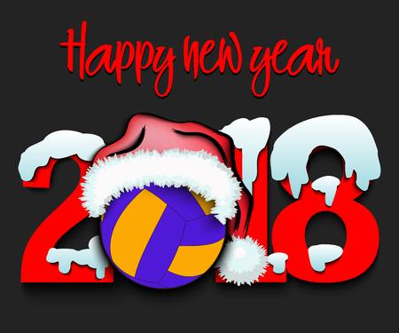 Snowy New Year numbers 2018 矢量图像