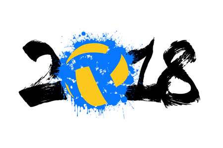 Abstract number 2018 and volleyball blot. Stock Illustratie