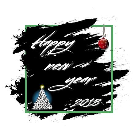 Happy new year 2018 and christmas tree from soccer balls on grunge background vector illustration