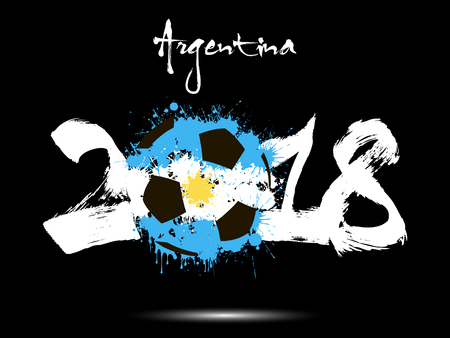 Abstract number 2018 and soccer ball painted in the colors of the Argentina flag. Vector illustration