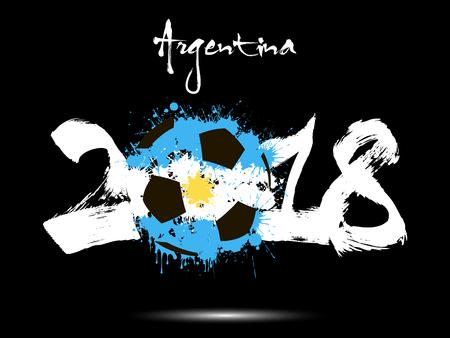 Resumen número 2018 y balón de fútbol pintado en los colores de la bandera de Argentina. Ilustración vectorial Foto de archivo - 91171606