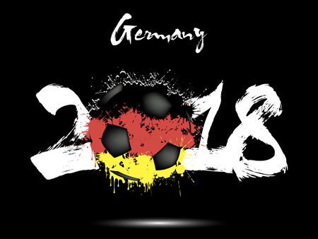 Abstract nummer 2018 en voetbal geschilderd in de kleuren van de vlag van Duitsland. Vector illustratie Stockfoto - 91252696