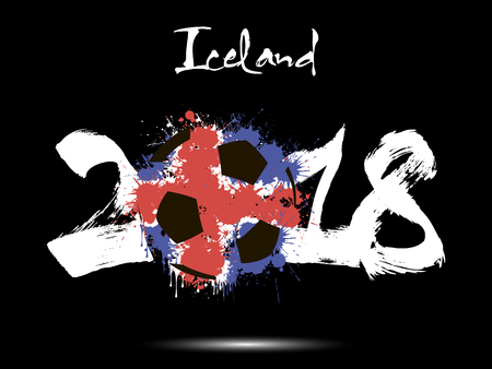 Abstract number 2018 and soccer ball painted in the colors of the  Iceland  flag. Vector illustration