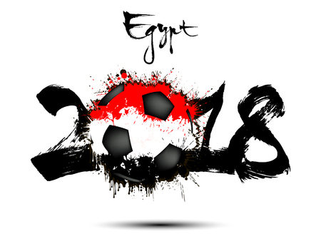 Abstract number 2018 and soccer ball painted in the colors of the Egypt flag. Vector illustration Illustration