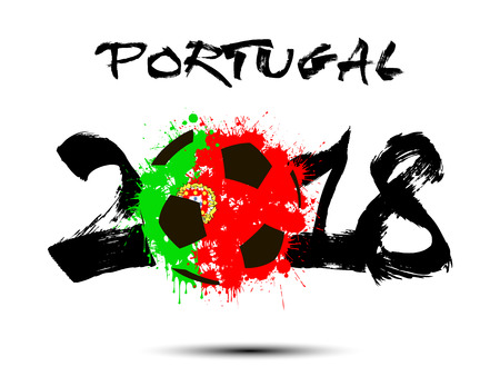 Abstract number 2018 and soccer ball painted in the colors of the Portugal flag. Vector illustration 矢量图像
