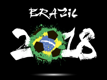Abstract number 2018 and soccer ball painted in the colors of the Brazil flag.