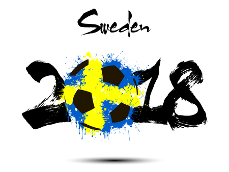 Abstract number 2018 and soccer ball painted in the colors of the Sweden flag. Illustration