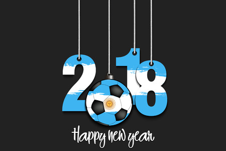 New Year numbers 2018 and soccer ball as a Christmas decorations painted in the colors of the Argentina flag hanging on strings. Vector illustration Ilustração