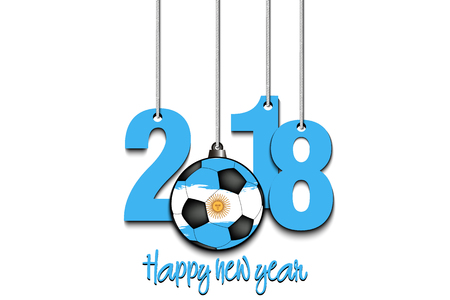 New Year numbers 2018 and soccer ball as a Christmas decorations painted in the colors of the Argentina flag hanging on strings. Vector illustration 向量圖像