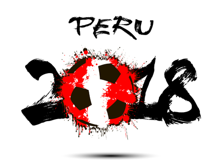 Abstract number 2018 and soccer ball painted in the colors of the Peru flag. Vector illustration