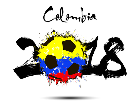 Abstract number 2018 and soccer ball painted in the colors of the Colombia flag. Illustration