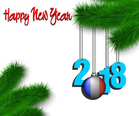 幸せな新しい年番号 2018 とクリスマス ボール、クリスマスの木の枝にぶら下がっているフランス国旗の色で塗装。ベクトル図