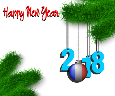 Happy New Year numbers 2018 and christmas ball painted in the colors of the France flag hanging on a Christmas tree branch. Vector illustration