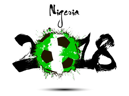 Abstract number 2018 and soccer ball painted in the colors of the Nigeria flag. Vector illustration