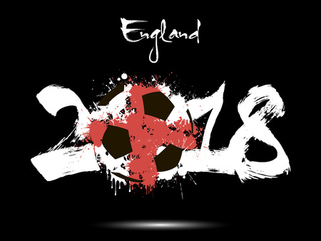 Abstract nummer 2018 en voetbal geschilderd in de kleuren van de vlag van Engeland. Vector illustratie
