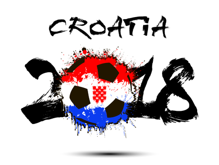 Abstract number 2018 and soccer ball painted in the colors of the Croatia flag. Vector illustration 일러스트
