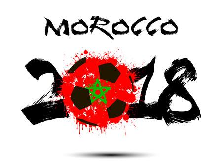 Abstract number 2018 and soccer ball painted in the colors of the Morocco flag.