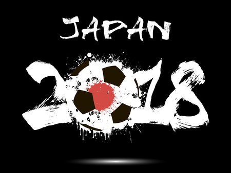 Abstract number 2018 and soccer ball painted in the colors of the Japan flag  illustration.