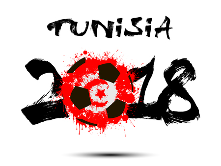 Abstract number 2018 and soccer ball painted in the colors of the Tunisia flag.
