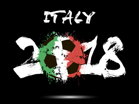 Abstract number 2018 and soccer ball painted in the colors of the Italy flag.