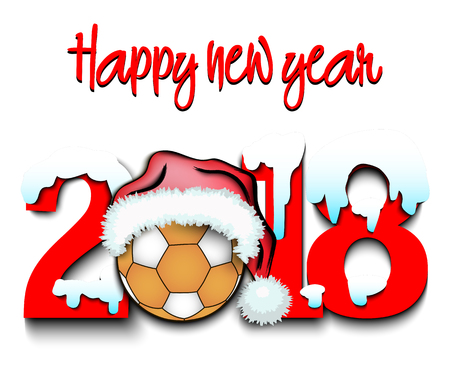 Snowy New Year numbers 2018 and handball ball in a Christmas hat. Vector illustration