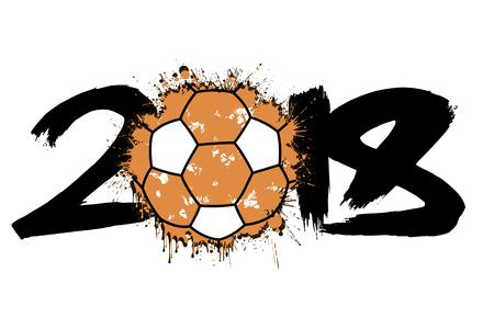 Abstract number 2018 and handball ball blot. Vector illustration Illustration