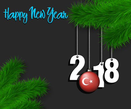 Happy New Year numbers 2018 and christmas ball painted in the colors of the Turkey flag hanging on a Christmas tree branch. Vector illustration