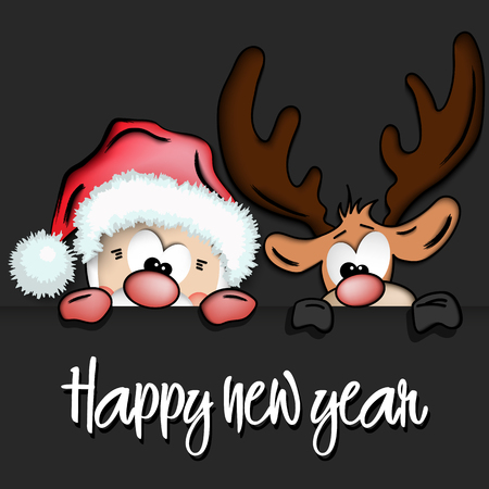 Happy new year and cartoon funny Santa Claus and reindeer, Christmas card Vector illustration