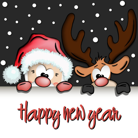 Happy new year and cartoon funny santa claus and reindeer. Christmas background card. Vector illustration