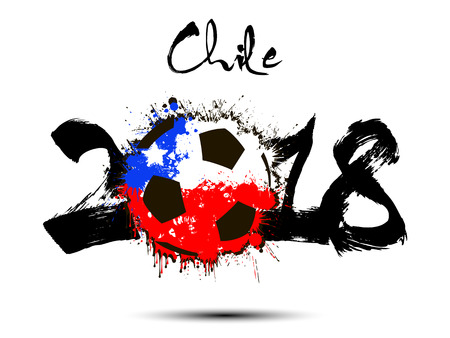 Abstract number 2018 and soccer ball painted in the colors of the Chile flag. Vector illustration Vectores