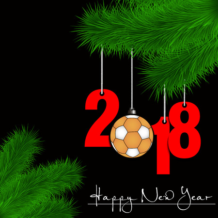 Happy New Year and numbers 2018 and handball ball as a Christmas decorations hanging on a Christmas tree branch on a black background. Vector illustration Illustration