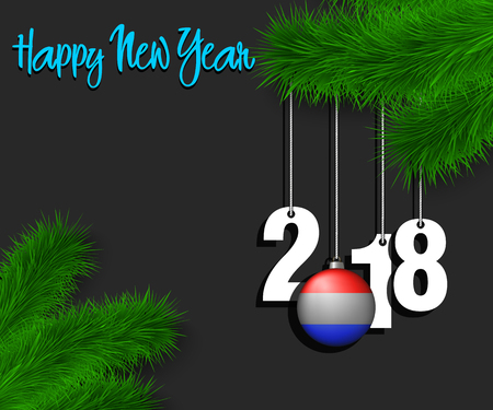 Happy New Year numbers 2018 and christmas ball painted in the colors of the Netherlands flag hanging on a Christmas tree branch. Vector illustration