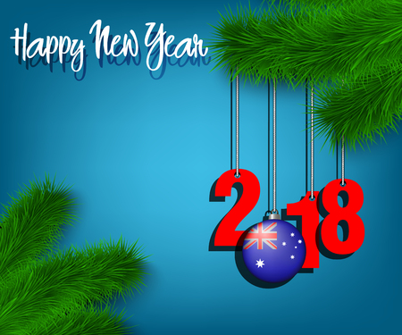 Happy New Year numbers 2018 and Christmas ball painted in the colors of the Australia flag hanging on a Christmas tree branch. Vector illustration.
