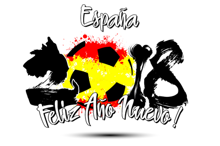 Abstract number 2018 and soccer ball painted in the colors of the Spain flag. Spanish translation of the inscription Spain, Happy New Year. Vector illustration.