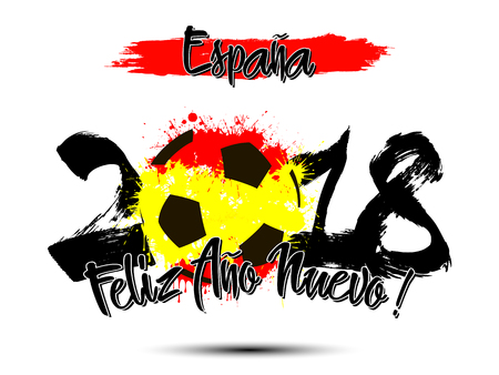Abstract number 2018 and soccer ball painted in the colors of the Spain flag. Spanish translation of the inscription Spain, Happy New Year. Vector illustration