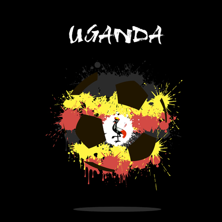 Abstract soccer ball painted in the colors of the Uganda flag. Vector illustration Illustration